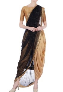 black-gold-chiffon-dhoti-sari-with-unstitched-blouse