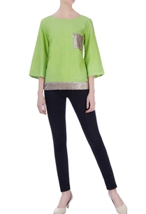 green-matka-silk-sequin-blouse