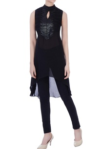 black-double-georgette-sequin-tunic
