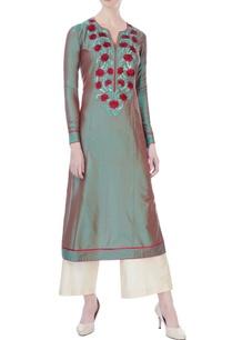 green-spun-silk-thread-work-kurta