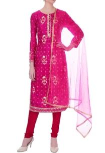 fuchsia-pink-gota-embroidered-viscose-silk-kurta-set