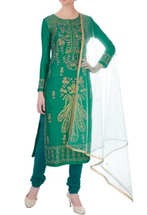 teal-green-gota-embroidered-viscose-silk-kurta-set