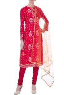 red-viscose-silk-gota-embroidered-kurta-set