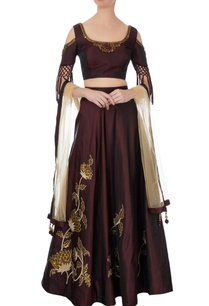 wine-taffeta-silk-lehenga-set