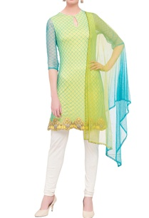 green-embroidered-short-kurta