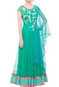 aqua-green-embroidered-kurta-with-dupatta