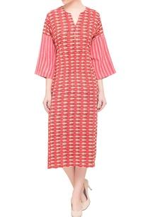 coral-khadi-cotton-printed-midi-dress