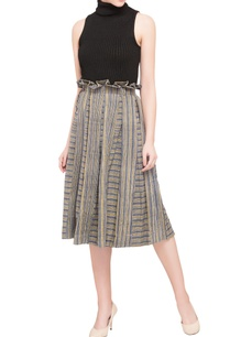 blue-khadi-cotton-printed-midi-skirt