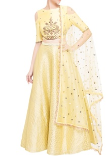 yellow-cold-shoulder-blouse-with-lehenga-dupatta