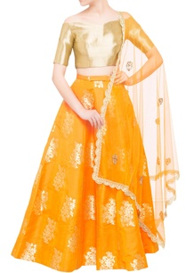 saffron-orange-brocade-lehenga-set