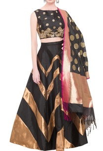 black-gold-chevron-taffeta-lehenga-set