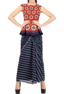 red-printed-peplum-top-navy-blue-sari
