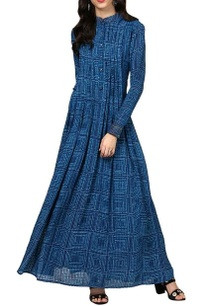 indigo-blue-printed-long-kurta