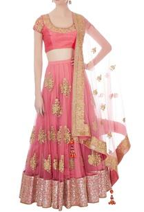 pink-beige-raw-silk-net-sequin-lehenga-set