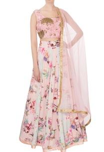 pink-powder-blue-georgette-silk-printed-lehenga-set