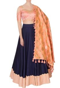 peach-navy-blue-silk-banarasi-silk-embroidered-lehenga-set