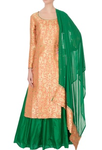peach-green-pure-silk-georgette-brocade-kurta-lehenga-set