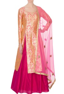 peach-pink-pure-silk-brocade-kurta-lehenga-set