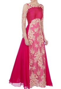 dark-pink-net-embroidered-cold-shoulder-gown