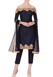 navy-blue-pure-raw-silk-embroidered-kurta-set