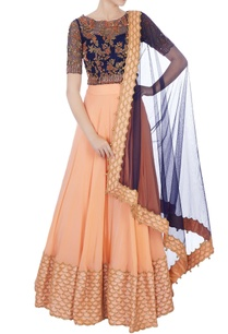 black-peach-chantily-lace-sequin-embroidered-lehenga-set