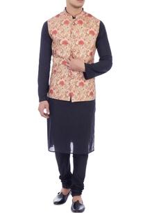 peach-beige-floral-printed-nehru-jacket