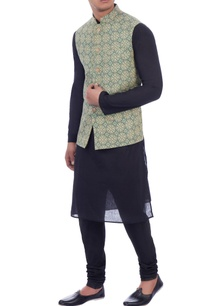 cream-green-printed-nehru-jacket