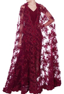 wine-solid-maxi-dress-with-cape
