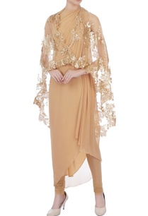 beige-pleated-tunic-with-churidar-and-cape