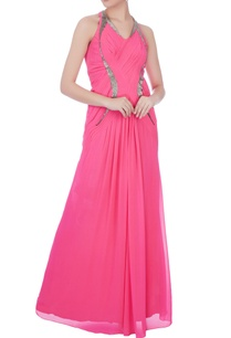 pink-embellished-pleated-gown