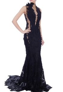 navy-blue-self-patter-gown