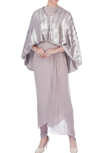 mauve-pleated-tunic-with-churidar-and-cape
