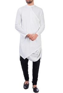 white-modal-cotton-draped-kurta