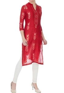 red-maheshwari-silk-shibori-knee-length-kurta