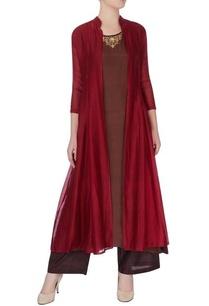 brown-kurta-maroon-silk-jacket-set