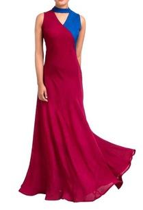 maroon-blue-wrap-style-dress
