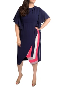 navy-blue-textured-poly-georgette-midi-dress