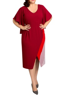 red-textured-poly-georgette-striped-midi-dress