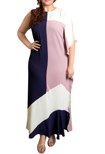 color-blocked-textured-poly-georgette-kaftan-maxi-dress