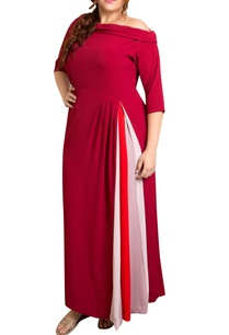 red-textured-poly-georgette-color-blocked-maxi-dress