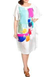 white-dupion-silk-graphic-print-kaftan-dress
