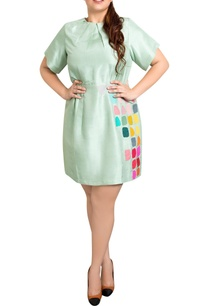 mint-green-dupion-silk-tile-print-shift-dress