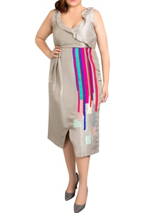 grey-dupion-silk-striped-overlap-dress