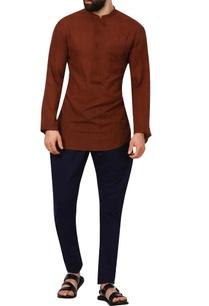 brown-band-collar-khadi-cotton-shirt