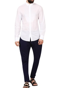 white-cotton-pixel-textured-yoke-shirt