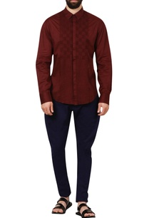 burnt-red-check-pleated-textured-shirt