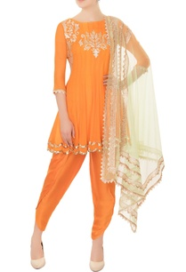 orange-chiffon-anarkali-set