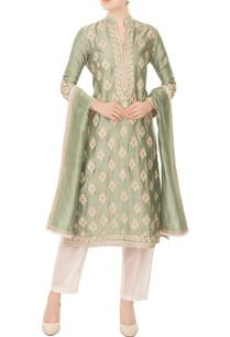 dull-mint-green-chanderi-silk-gold-boti-embroidery-a-line-kurta-with-pants-dupatta
