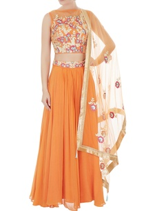 orange-hand-crafted-net-lehenga-with-cold-shoulder-blouse-dupatta