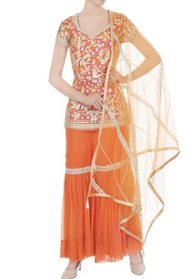 orange-hand-crafted-embroidered-kurta-with-sharara-pants-dupatta
